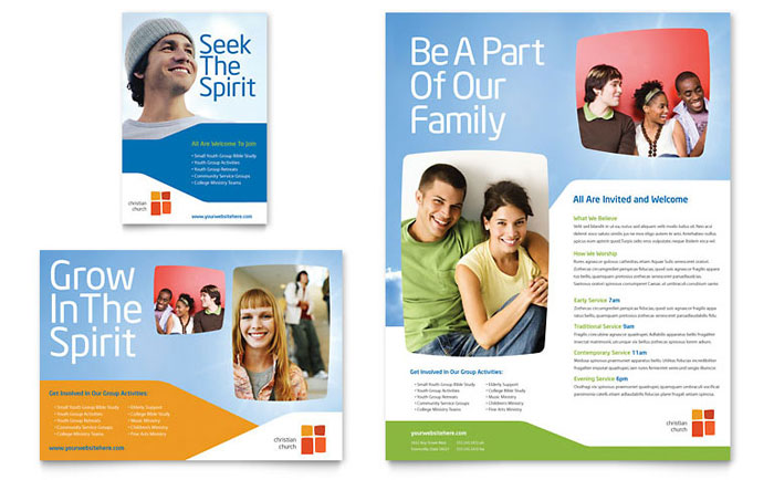 church youth ministry newsletter template design