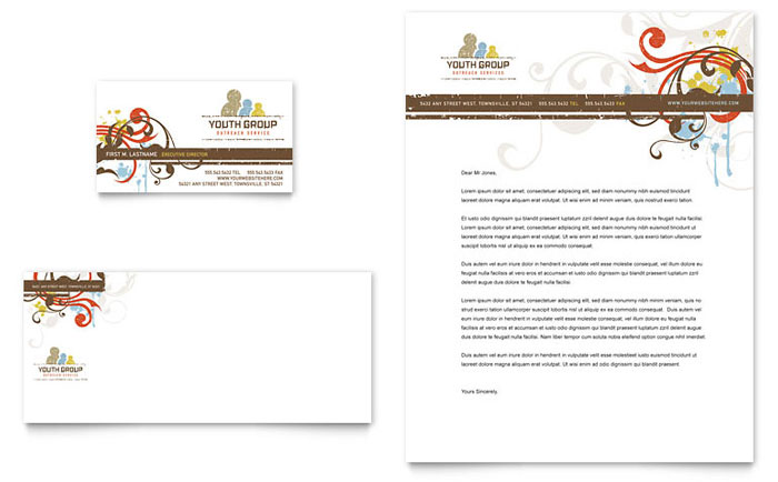 Church Youth Group Business Card  Letterhead Template Design