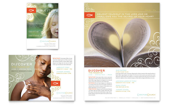 Christian Church Religious Flyer & Ad Template Design Download - InDesign, Illustrator, Word, Publisher, Pages