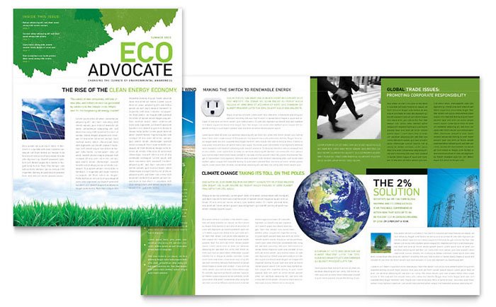 environmental non profit newsletter template design