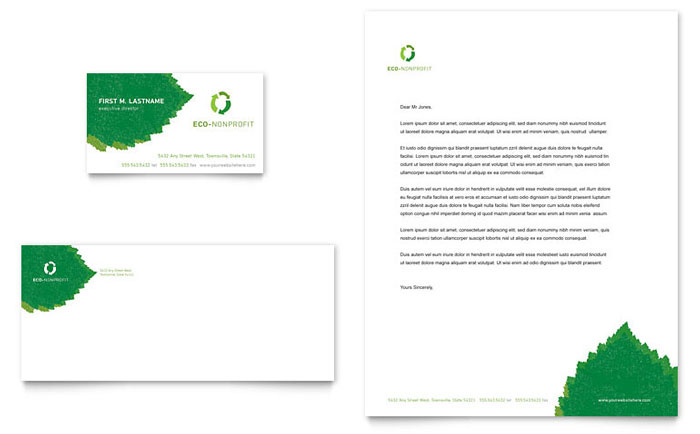 Environmental non profit business card letterhead template design colourmoves Images