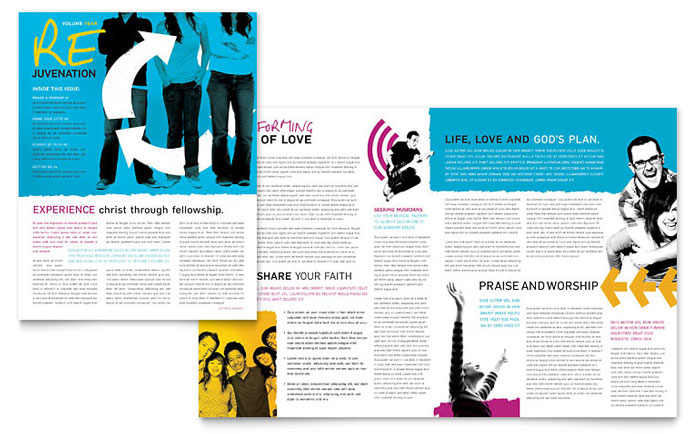 Church Outreach Ministries Newsletter Template Design Download - InDesign, Illustrator, Word, Publisher, Pages
