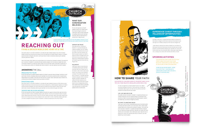 Church Outreach Ministries Datasheet Template Design - Creative newsletter design templates
