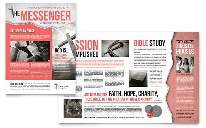 Bible church newsletter template design for E magazine templates free download