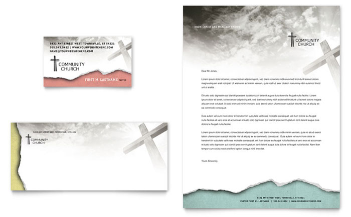 Bible church business card letterhead template design maxwellsz