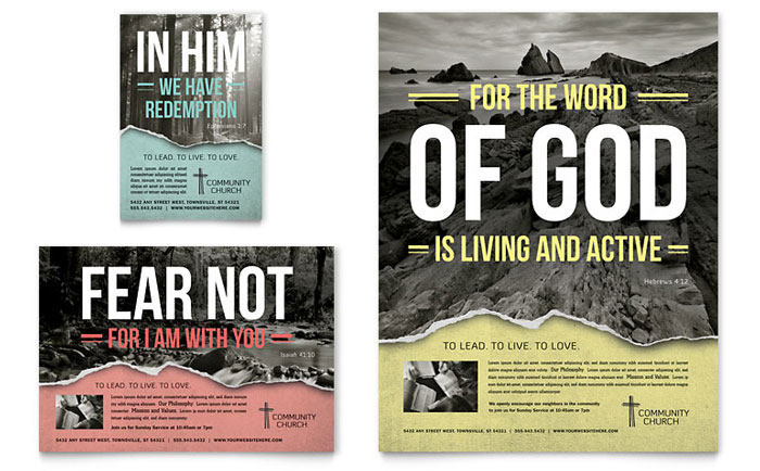 Bible Church Brochure Template Design - Free church brochure templates