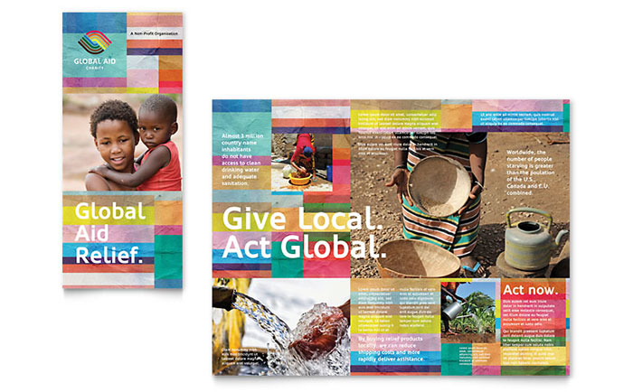 ngo brochure templates - humanitarian aid organization brochure template design
