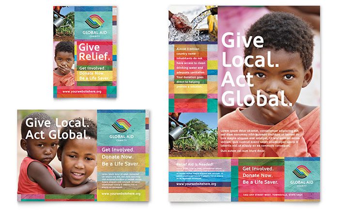 Humanitarian Aid Organization Flyer & Ad Template Design