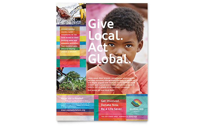 Humanitarian aid organization flyer template design for Non profit charter template