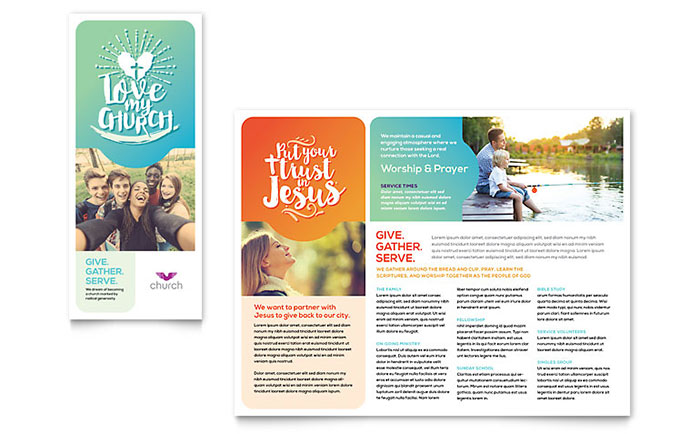 Church brochure template design for Informational brochure templates free