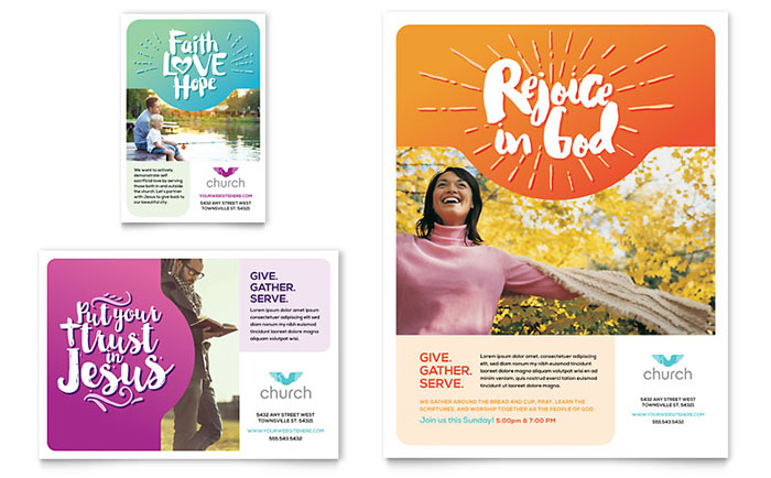 Church flyer ad template design for Ad designs