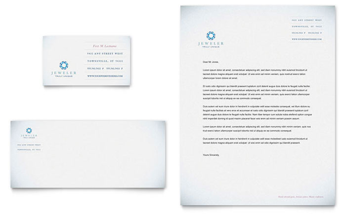Jeweler jewelry store business card letterhead template design reheart