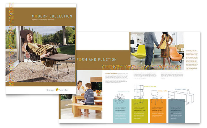 Furniture store brochure template design for X furniture catalogue