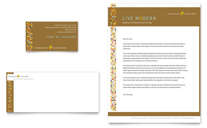 Furniture Store Business Card Letterhead Template Design
