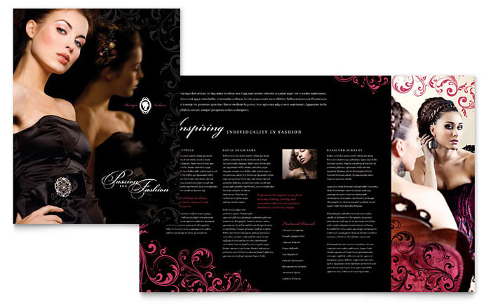 Formal fashions jewelry boutique brochure template design for Fashion flyers templates for free