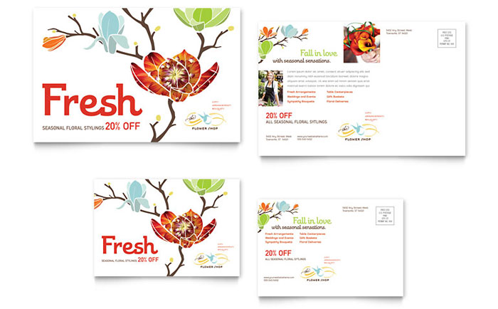 Flower Shop Postcard Template Design - InDesign, Illustrator, Word, Publisher, Pages