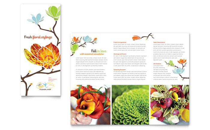 Flower Shop Tri Fold Brochure Template Design Download - InDesign, Illustrator, Word, Publisher, Pages