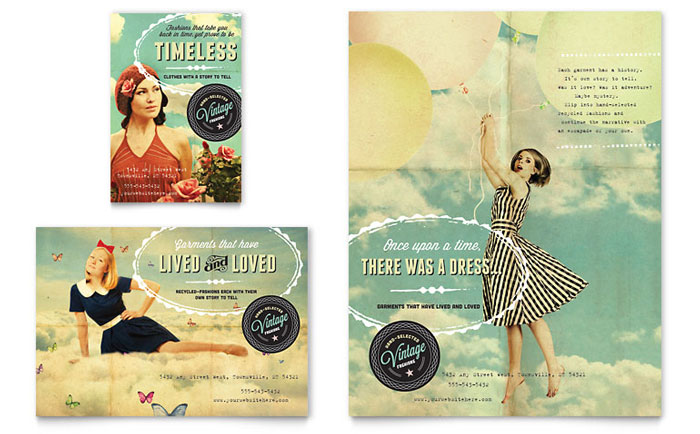 Vintage Clothing Flyer & Ad Template Design Download - InDesign, Illustrator, Word, Publisher, Pages