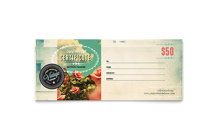 Vintage clothing gift certificate template design yelopaper Choice Image