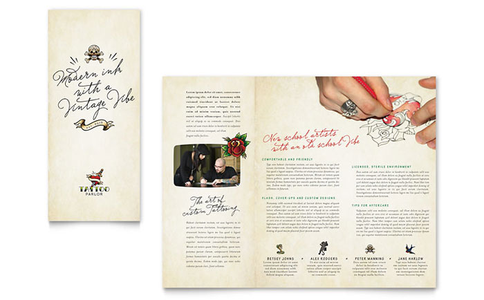 Body Art Tattoo Artist Brochure Template Design - Workshop brochure template
