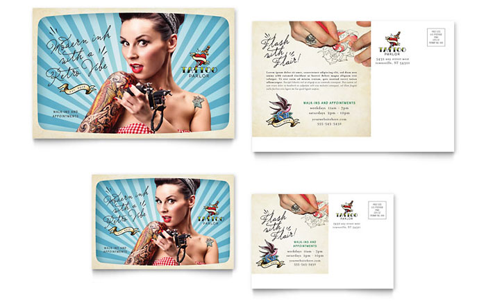 Body art tattoo artist postcard template design for 6x4 postcard template