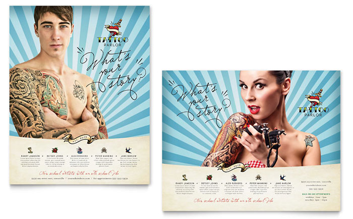 Body Art & Tattoo Artist Poster Template Download - InDesign, Illustrator, Word, Publisher, Pages