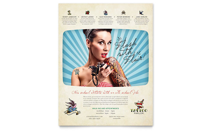 Body Art & Tattoo Artist Flyer Template Design Download - InDesign, Illustrator, Word, Publisher, Pages