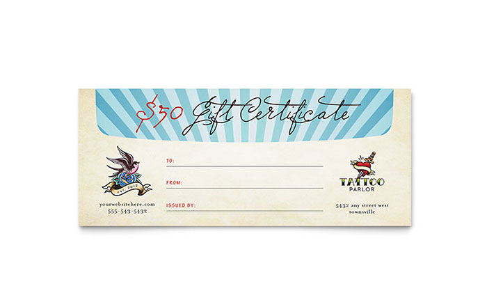 Body art tattoo artist gift certificate template design yelopaper