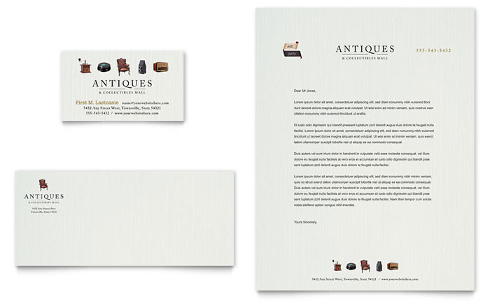Antique Mall Business Card Letterhead Template Design