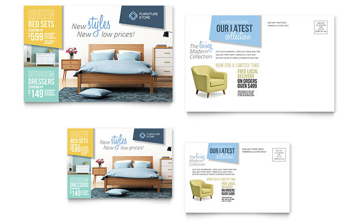 Interior Design Furniture Postcards Templates Designs Sample