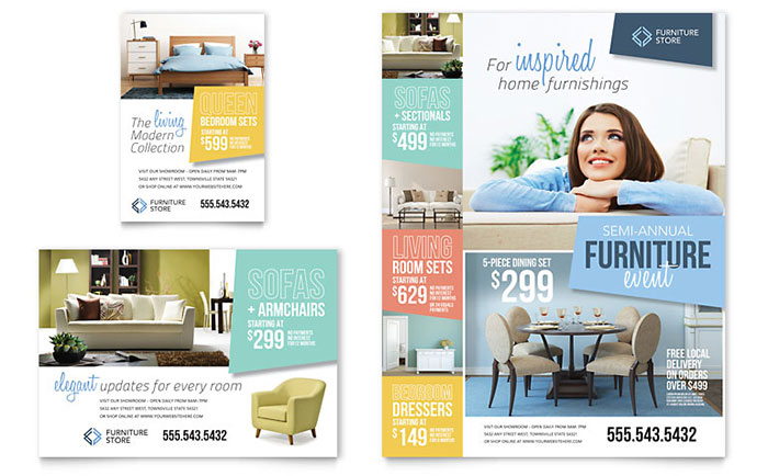 Home furnishings flyer ad template design for Ad designs