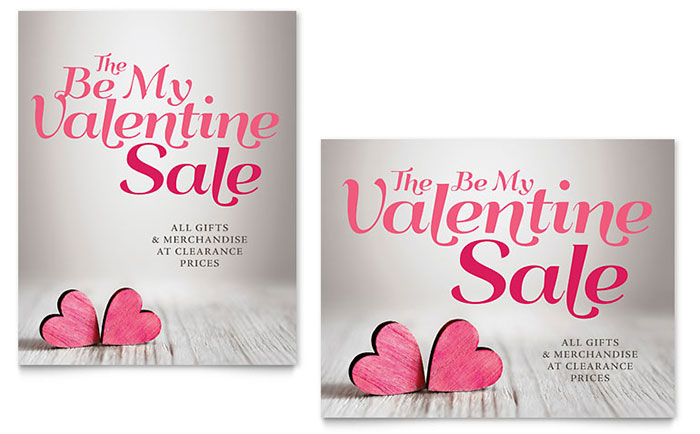 Valentine Sale Poster Template Design Download - InDesign, Illustrator, Word, Publisher, Pages