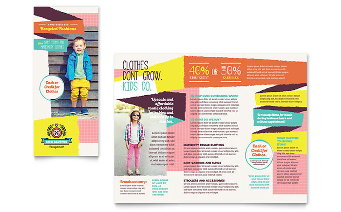 Kids consignment shop brochure template design for Free brochure templates for kids
