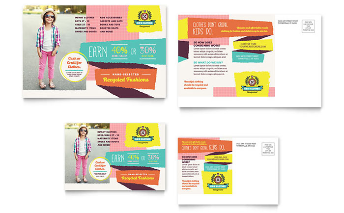 Kids Consignment Shop Postcard Template Design