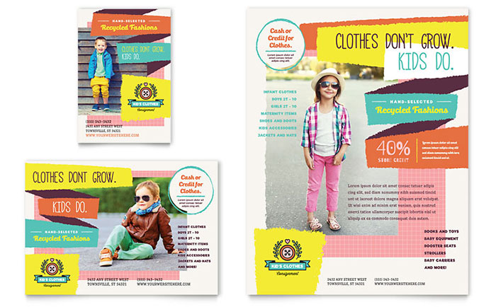 kids consignment shop flyer ad template design - Brochure Templates For Kids