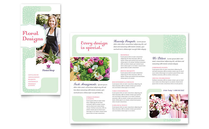 Florist Brochure Template Design - InDesign, Illustrator, Word, Publisher, Pages