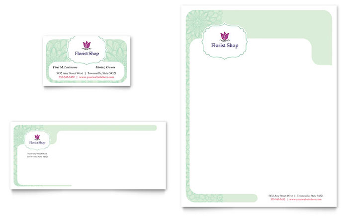 Florist Business Card & Letterhead Template Design Download - InDesign, Illustrator, Word, Publisher, Pages