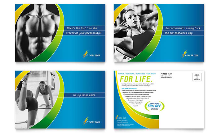 sports  u0026 health club postcard template design