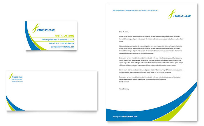 Sports & Health Club Business Card & Letterhead Template Design Download - InDesign, Illustrator, Word, Publisher, Pages