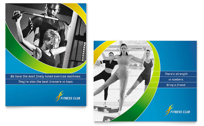 Health Club & Fitness Center Poster Templates & Graphic Designs