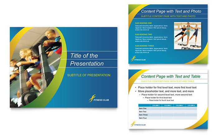 sports & health club powerpoint presentation template design, Presentation templates