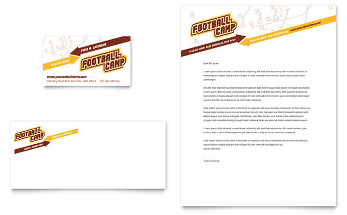 Football sports camp business card letterhead template for Sports camp brochure template