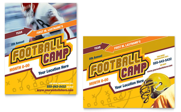 Football Sports Camp Poster Template Design Download - InDesign, Illustrator, Word, Publisher, Pages