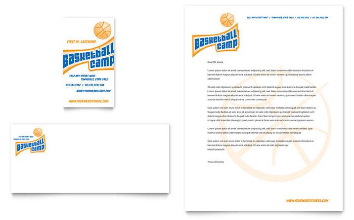 Basketball Sports Camp Business Card & Letterhead Template Design