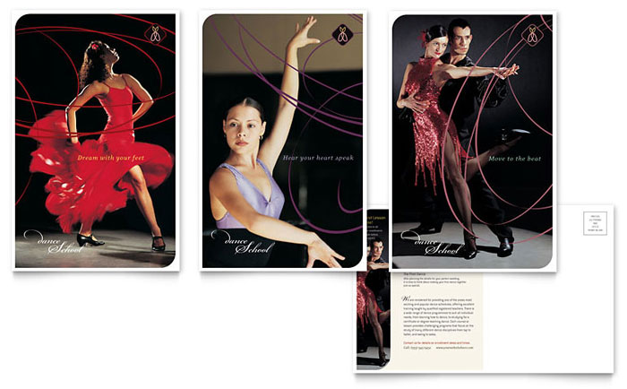 Dance School Postcard Template Download - InDesign, Illustrator, Word, Publisher, Pages