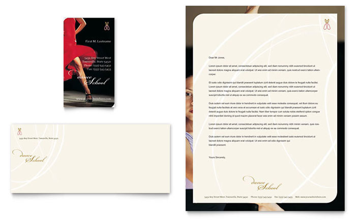 Dance School Business Card & Letterhead Template Design Download - InDesign, Illustrator, Word, Publisher, Pages