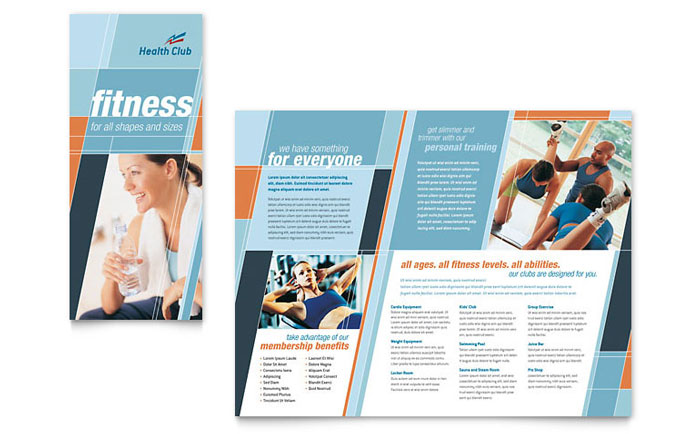 health fitness gym brochure template design. Black Bedroom Furniture Sets. Home Design Ideas