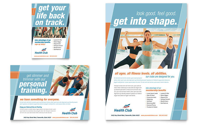 health fitness gym flyer ad template design. Black Bedroom Furniture Sets. Home Design Ideas