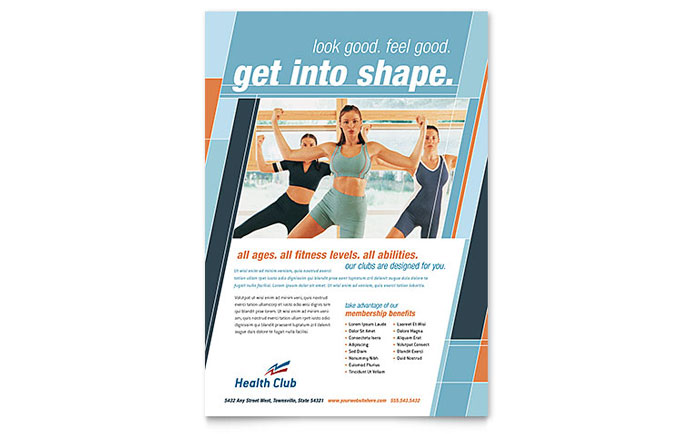 Health fitness gym flyer template design for Fitness brochure template