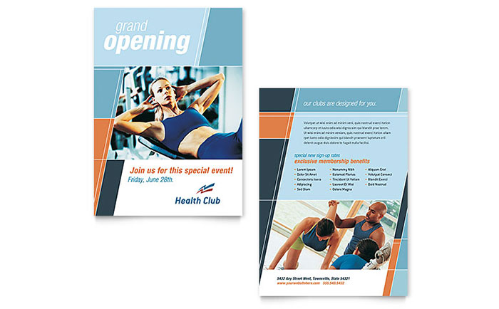 Health fitness gym announcement template design for Fitness brochure template
